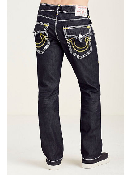 STRAIGHT FLAP YELLOW MEGA T STITCH MENS JEAN