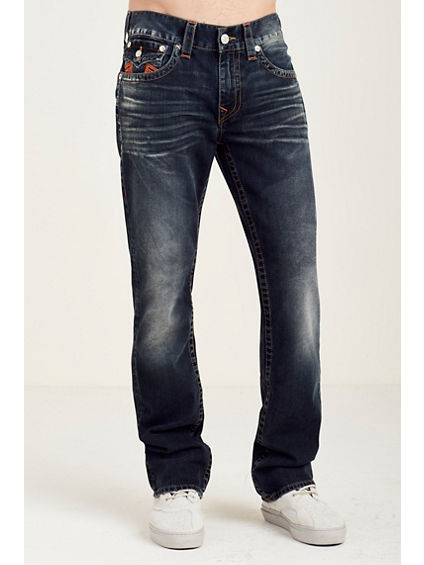 STRAIGHT FLAP ORANGE V-STITCH POCKET MENS JEAN