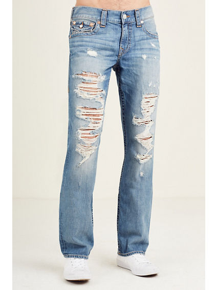 STRAIGHT FLAP RIPPED MENS JEAN