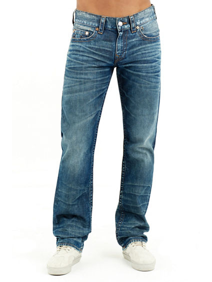 STRAIGHT FLAP RUN STITCH LOGO MENS JEAN