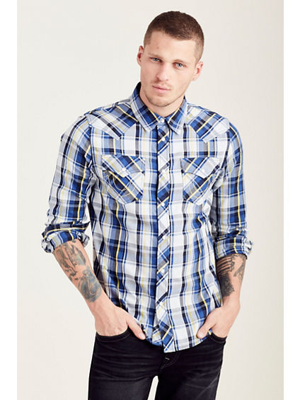 PLAID L/S WESTERN MENS SHIRT