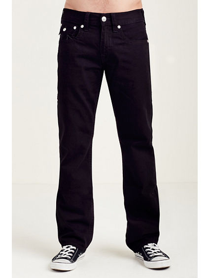 STRAIGHT BLACK W/GREY STITCH MENS JEAN