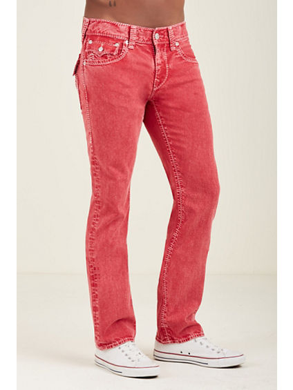 STRAIGHT FLAP MEGA T STITCH RED MENS JEAN