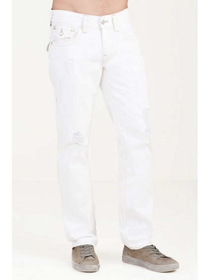 STRAIGHT WHITE RIPPED MENS JEAN
