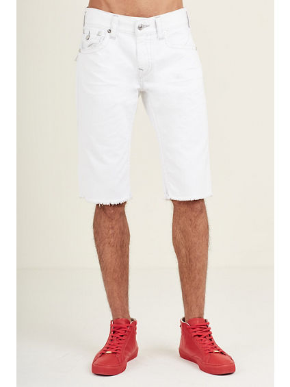 STRAIGHT FLAP CUT OFF WHITE MENS SHORT