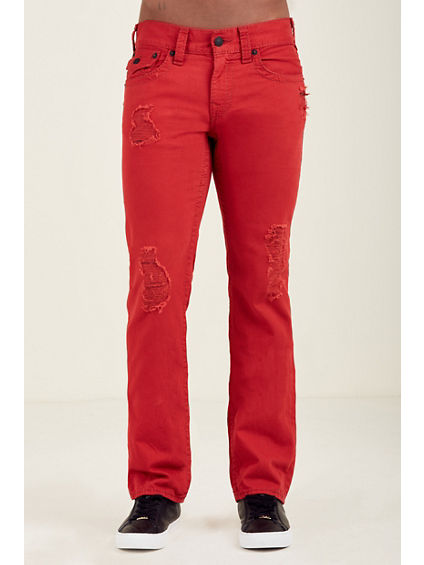 STRAIGHT FLAP RED RIPPED MENS JEAN