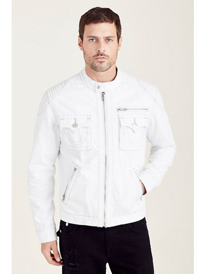 MOTO WHITE MENS JACKET