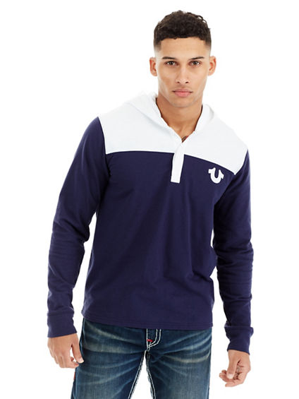 FOOTBALL HOODED MENS HENLEY