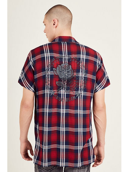 ELONGATED SHORT SLEEVE EMBROIDERED MENS PLAID SHIRT