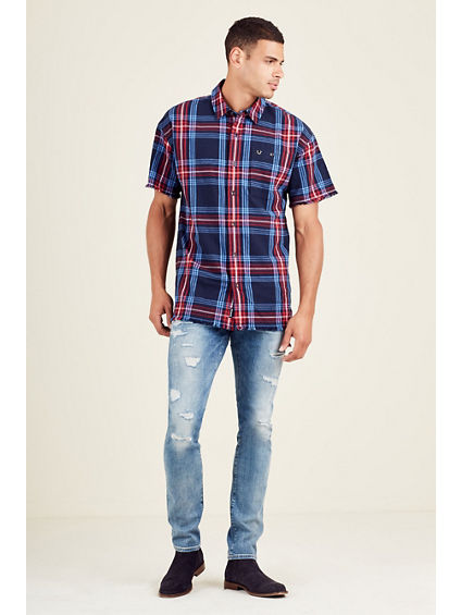 RAW EDGE SHORT SLEEVE MENS SHIRT