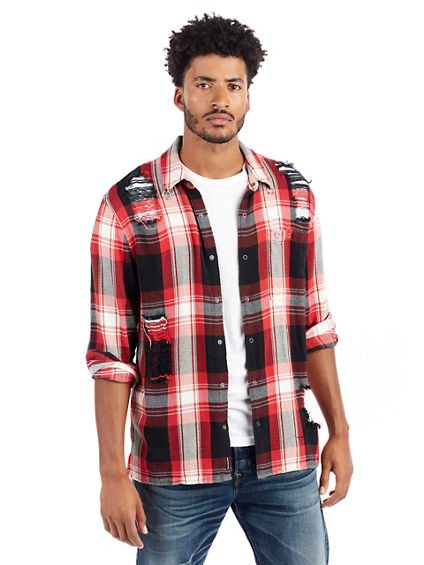 LOOSE FIT MENS PLAID SHIRT