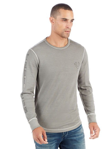 LONG SLEEVE TRUE RELIGION STUDDED CREW MENS TEE