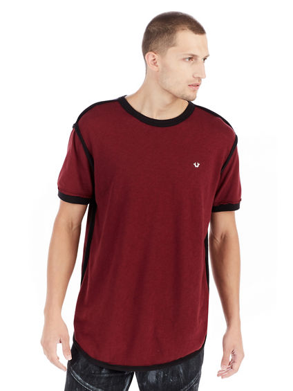 SHORT SLEEVE ELONGATED GRAPHIC MENS VARSITY MENS TEE