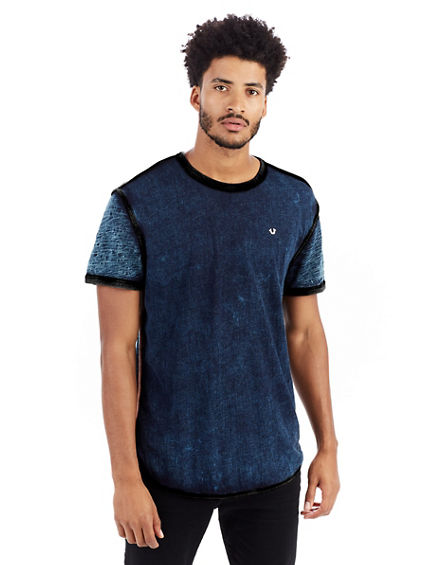 SHORT SLEEVE INDIGO GRAPHIC MENS VARSITY TEE