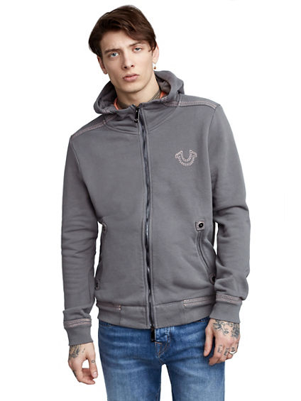 MENS CLASSIC POP COLOR ZIP UP HOODIE