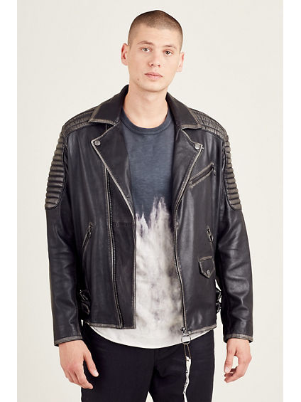MOTO DETAILED LEATHER MENS JACKET