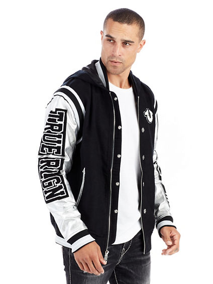 HOODED SILVER METALLIC MENS VARSITY JACKET