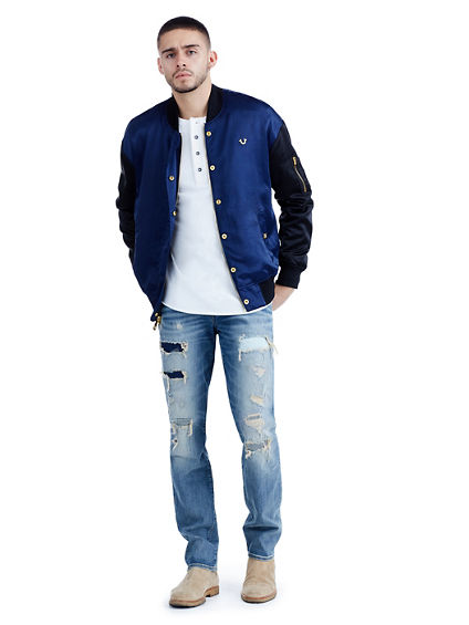 METALLIC EMBROIDERED MENS SATIN BOMBER