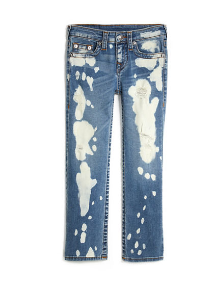 STRAIGHT FIT BLEACH SPLATTER RIPPED JEAN