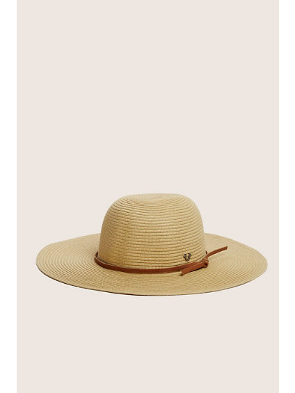 STRAW FLOPPY HAT WITH BAND