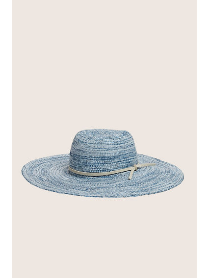 LADIES TWO TONE STRAW FLOPPY HAT