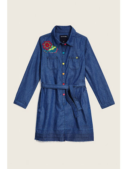 TODDLER/LITTLE KIDS DENIM DRESS