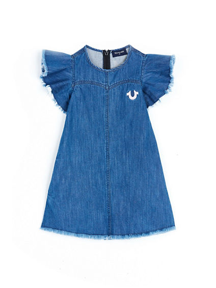 RAW EDGE FLUTTER SLEEVE TODDLER/LITTLE KIDS DRESS