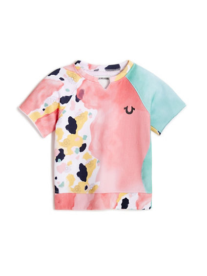 TODDLER/LITTLE KIDS TERRY WATERCOLOR PETAL PULLOVER TEE