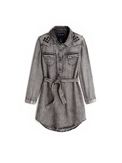 STUD WESTERN TODDLER/LITTLE KIDS DRESS