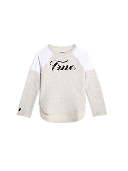 TODDLER/BIG KIDS GIRLS MESH FRENCH TERRY PULLOVER