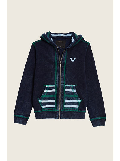 CONTRAST STITCH TODDLER/LITTLE KIDS HOODIE