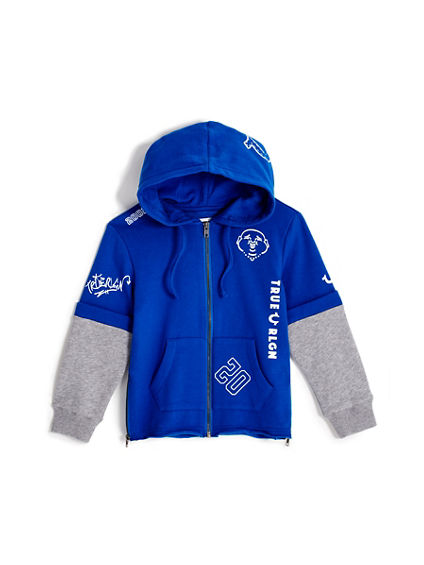 TODDLER/LITTLE KIDS TAGGED GRAPHIC ZIP UP HOODIE