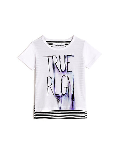 TODDLER/LITTLE KIDS SKETCHED STRIPE GRAPHIC TEE