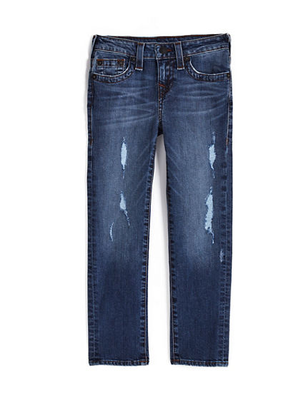 TODDLER/BIG KIDS BOYS DISTRESSED CONTRAST GENO SLIM JEAN