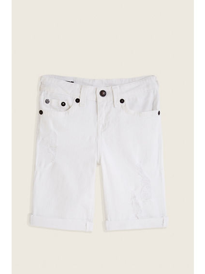 SLIM WHITE KIDS SHORT