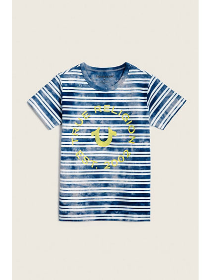 INDIGO WASH STRIPE KIDS TEE