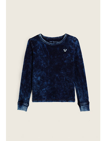 INDIGO LONG SLEEVE KIDS TEE