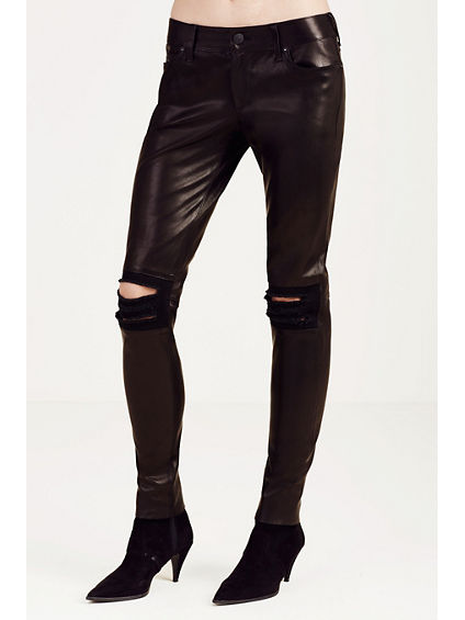 LEATHER DESTROYED SKINNY WOMENS PANT