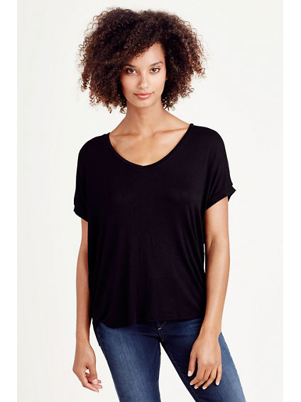 RELAXED V NECK WOMENS TEE