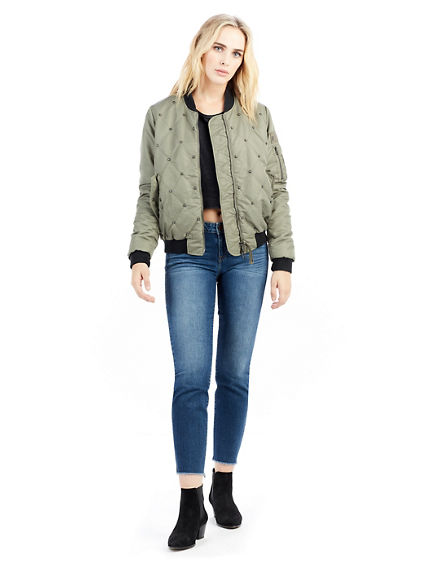 STUDDED QUILT WOMENS BOMBER JACKET