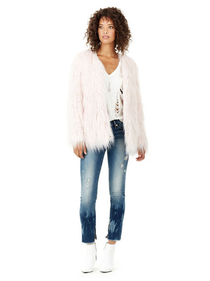 WOMENS SHAG FAUX FUR JACKET