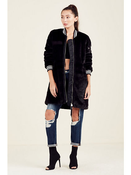 LONG FURRY WOMENS BOMBER JACKET