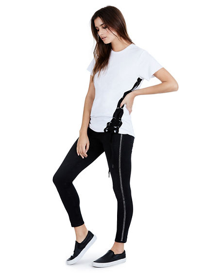 WOMENS BLACK GLITTER LEGGING