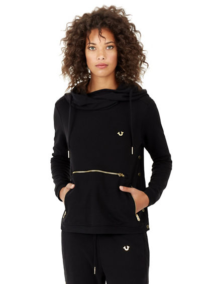 WOMENS PULLOVER HOODIE WITH SNAPS