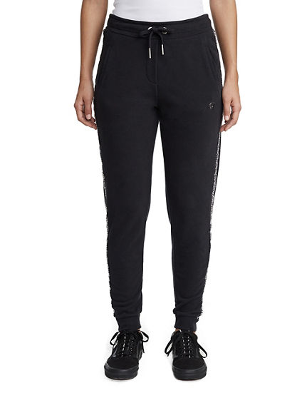 WOMENS RHINESTONE PANEL JOGGER