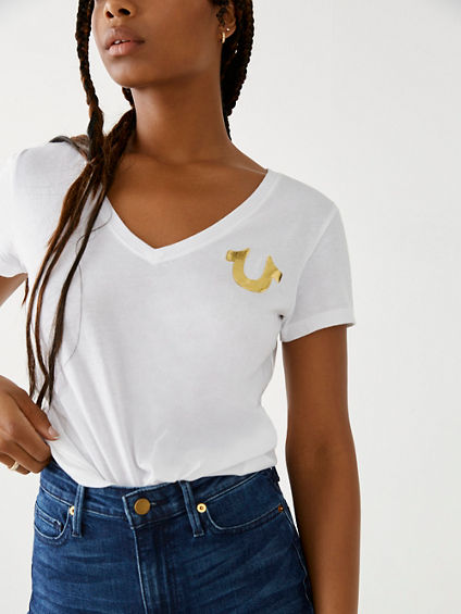 GOLD METALLIC WOMENS TEE