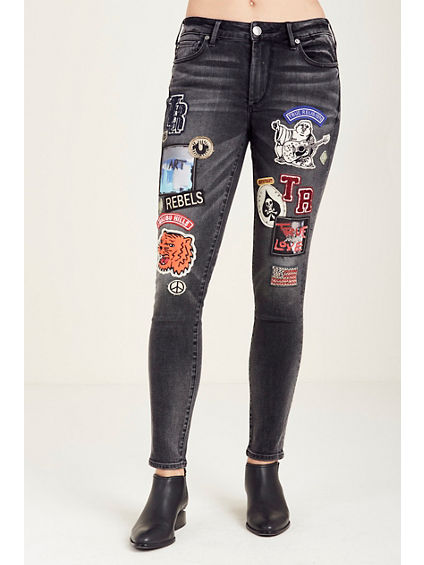 HALLE SUPER SKINNY PATCHED WOMENS JEAN