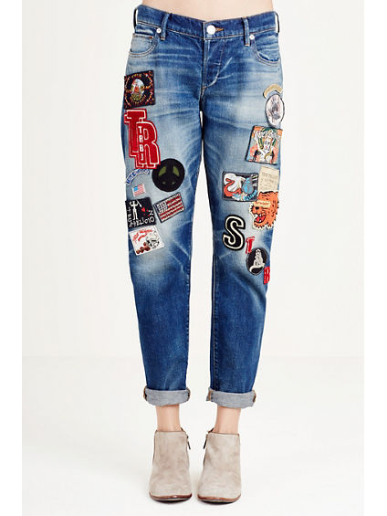 AUDREY SLIM BOYFRIEND PATCHED WOMENS JEAN