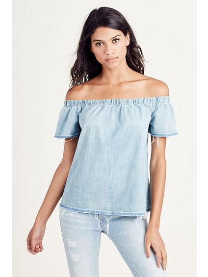 DENIM OFF THE SHOULDER WOMENS TOP