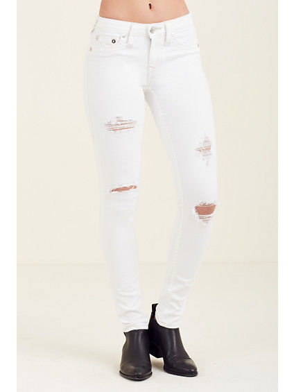 CURVY SKINNY WHITE RIPPED WOMENS JEAN